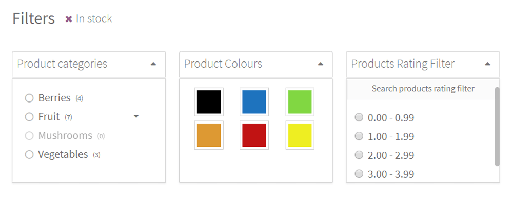 Dropdown filter style in the annasta Woocommerce Product Filters WordPress plugin
