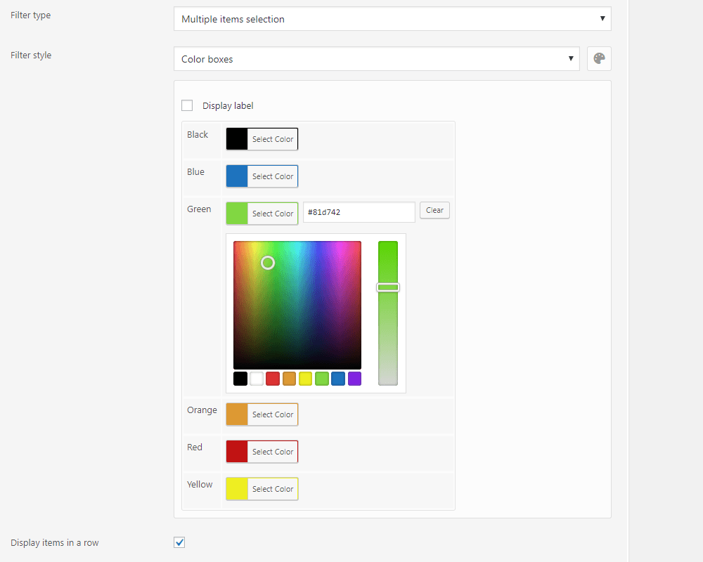 Color boxes filter style management in the annasta Woocommerce Product Filters admin