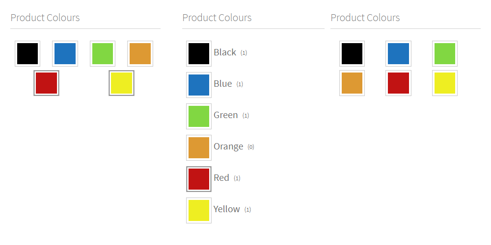 Color filters in the annasta Woocommerce Product Filters WordPress plugin