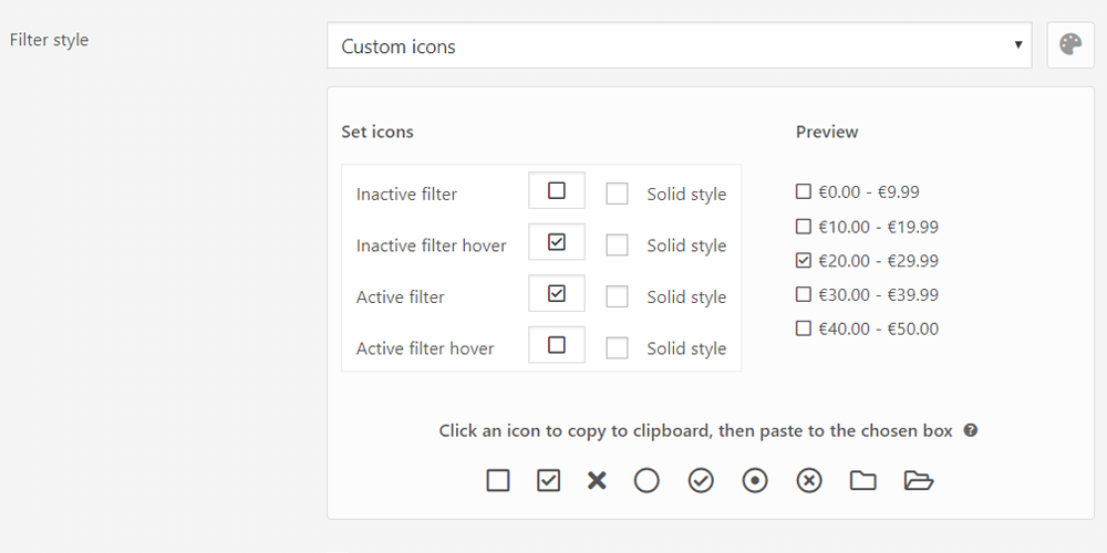 Custom filter icons management in the annasta Woocommerce Product Filters