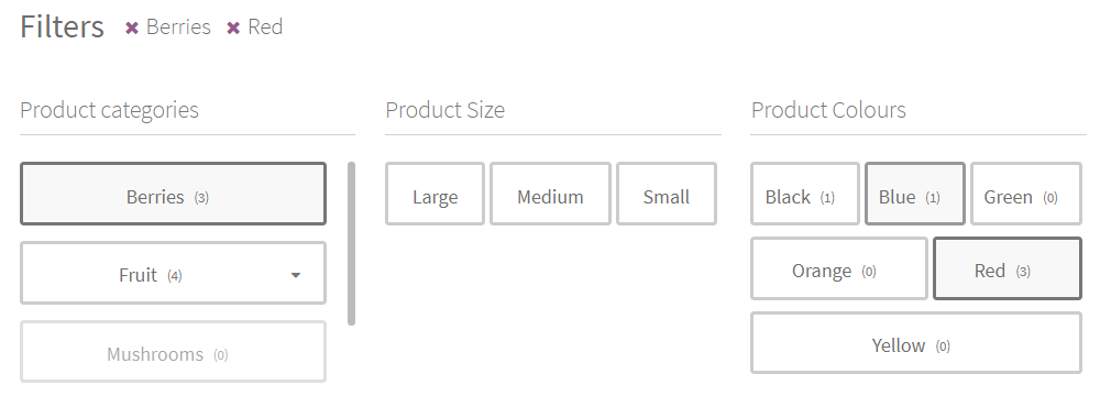 Tags filter style in the annasta Woocommerce Product Filters WordPress plugin