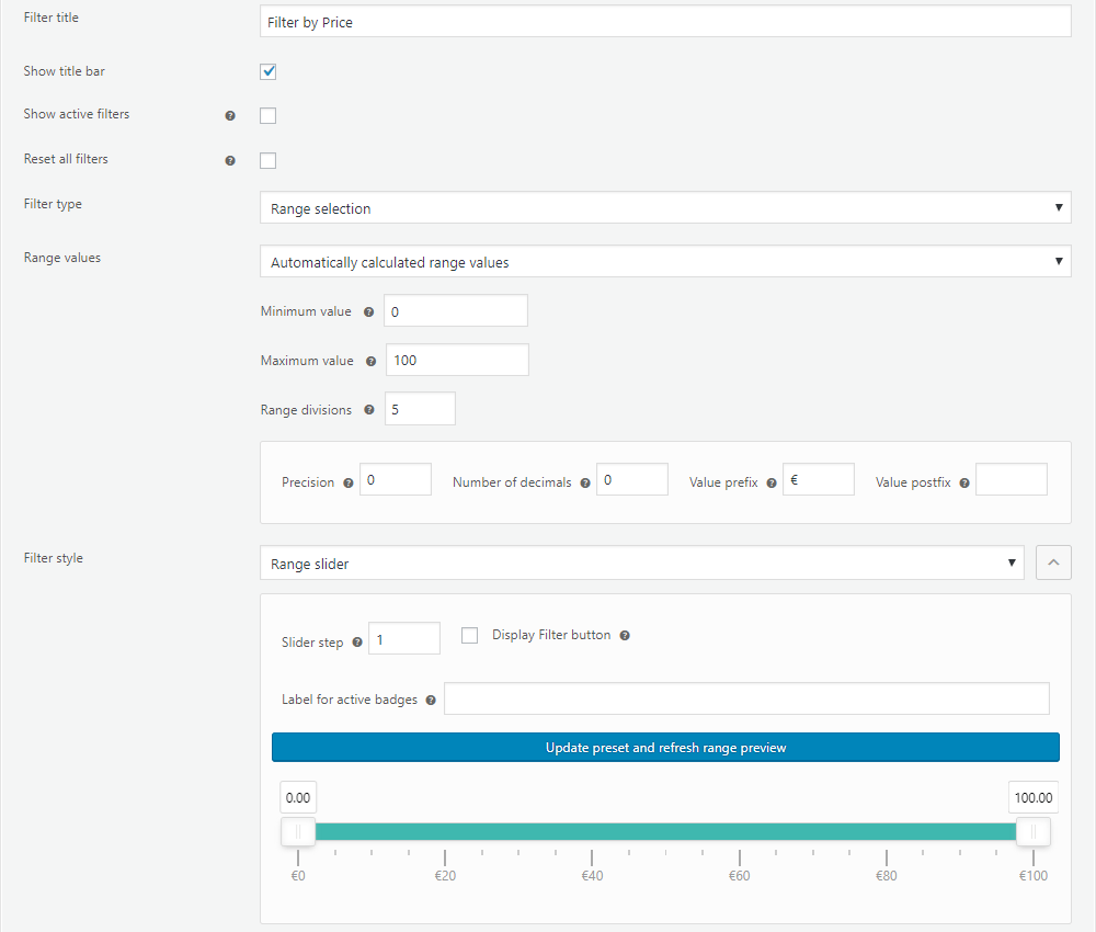 Settings for the automatically calculated range filter values in the annasta Woocommerce Product Filters WordPress plugin admin area