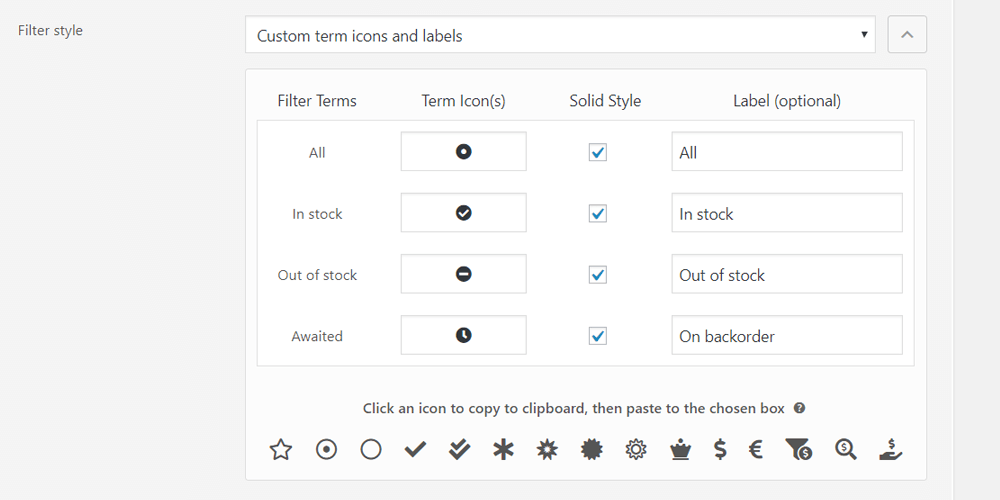 Example of custom icons and labels management in the premium version of the annasta Woocommerce Product Filters WordPress plugin