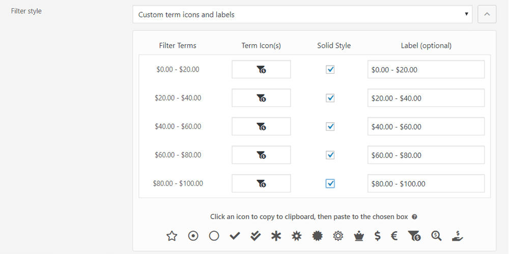 Custom filter term icons and labels management in the admin area of the premium version of the annasta Woocommerce Product Filters plugin