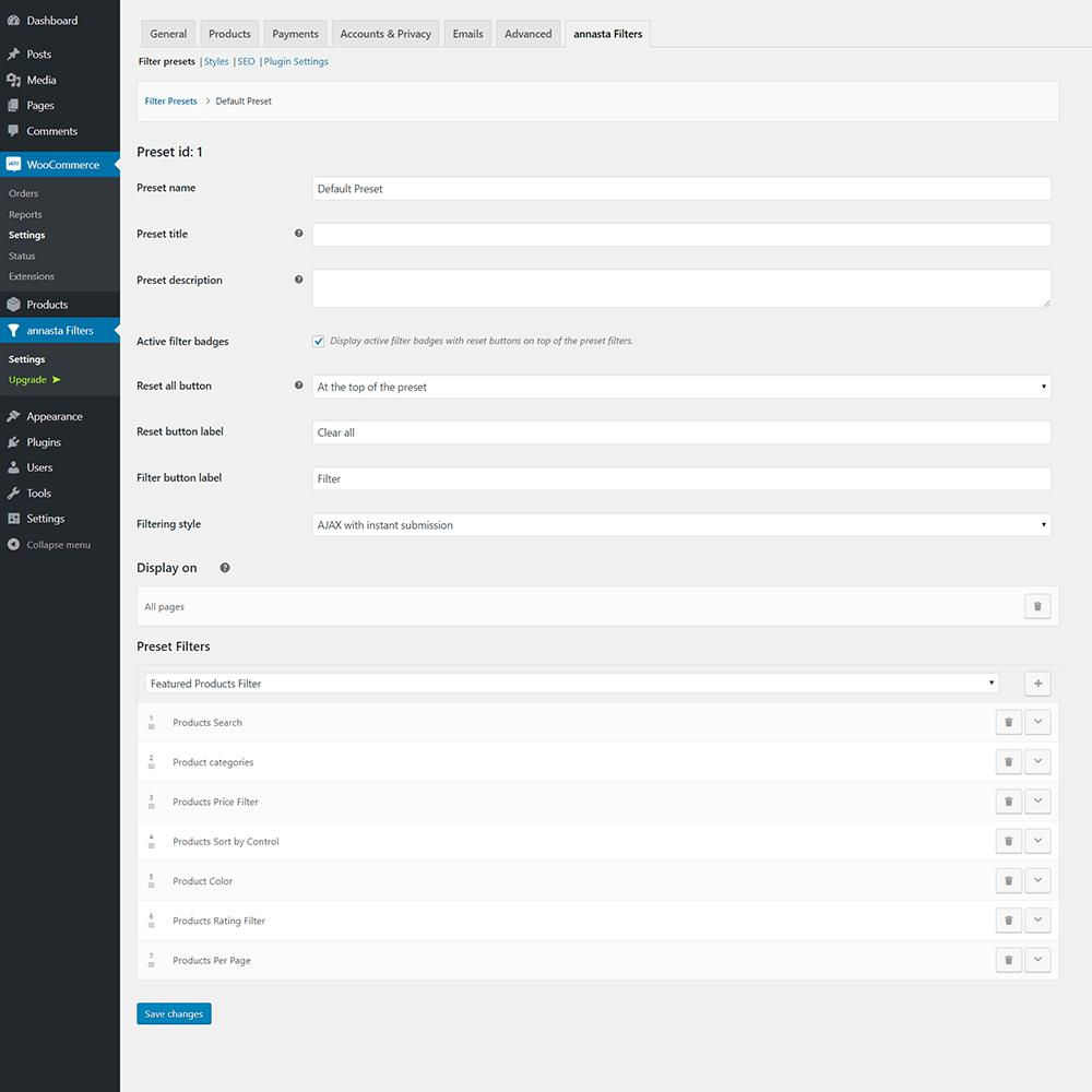 annasta Filters preset settings admin screen
