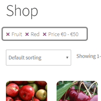 Active filters collector above products list in annasta Filters for Woocommerce