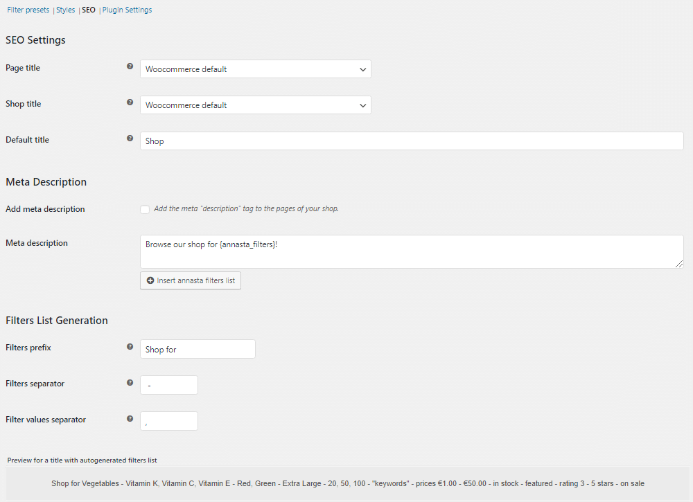 SEO settings of the annasta Woocommerce filters